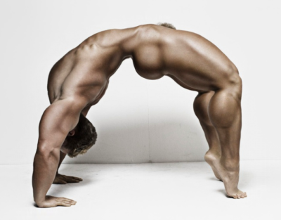 Bodybuilder arched